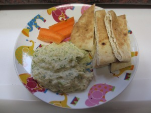 Dip with carrots and pita